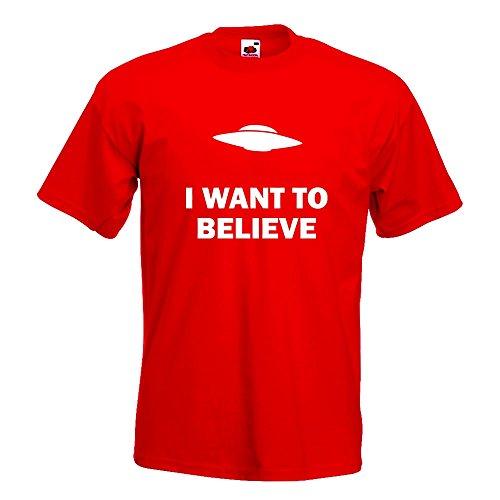 KIWISTAR - I want to believe UFO T-Shirt in 15 verschiedenen Farben - Herren Funshirt bedruckt Design Sprüche Spruch Motive Oberteil Baumwolle Print Größe S M L XL XXL Rot