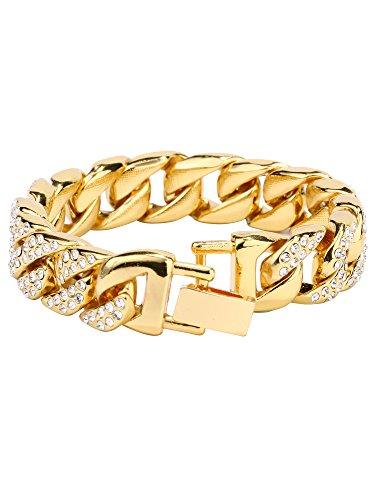Hiphop Armbänder Überzogene Chain Link Armband mit Klaren Strass Strasssteine für Männer und Damen, Gold (Hiphop Armbänder Männer)
