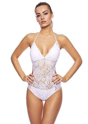 Figure Lady costume da bagno/Häkel design/by Octopus One Piece/fla-1277-f5153 Swimsuit Crochet Optics White BA3