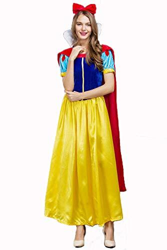 Damen Halloween Kostüm, Erwachsene Frauen Disney Schneewittchen, Märchen Kostüm Party Outfit Kostüm,A,XXL (Damen Disney Princess Schneewittchen Kostüm)