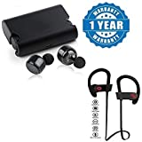 Captcha Wireless Bluetooth V4.2 Earphones With Deep Bass Stereo Sound, Charging Box And Handsfree Mic And QC-10 Compatible Bluetooth 4.1 Wireless Stereo Sport Headset Running Jogger Compatible With Xiaomi, Lenovo, Apple, Samsung, Sony, Oppo, Gionee, Vivo