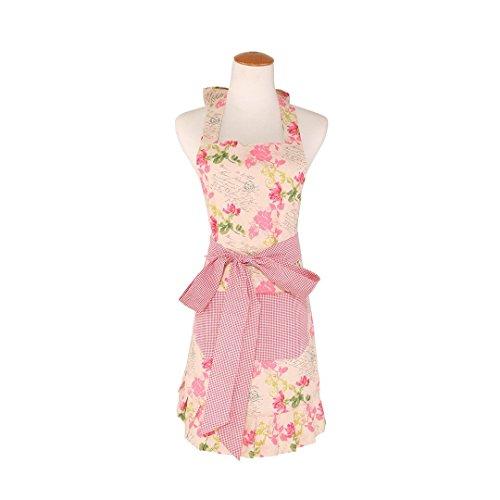 Baumwolle Stoff Frauen 'S KITCHEN Schürze mit 2pockets-extra Lange Bänder, Graceful und flirty, Rosa Blume pattern-leeotia -
