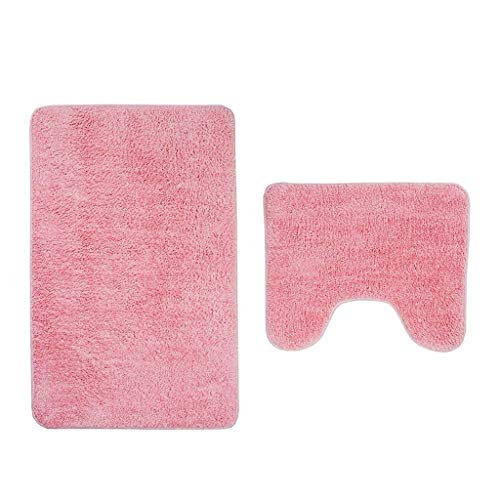 ZJFSL Badematten-Set 2-teilig, rutschfeste, weiche Mikrofaser-Badezimmermatten-Set, Gummi-WC-Sitzbezugmatte & Fußmatte & Badematte,Pink