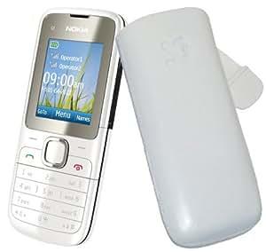 Original Suncase Echt Ledertasche (Lasche mit Rückzugfunktion) für Nokia C2-00 Dual-Sim in weiß