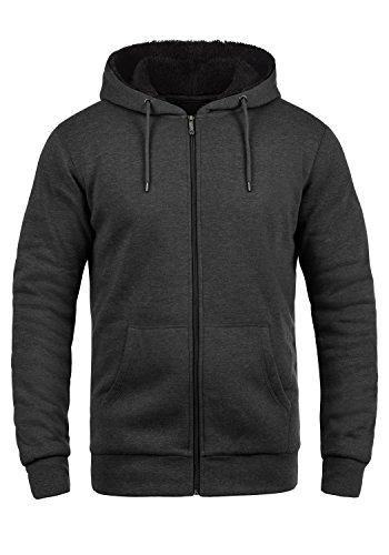 !Solid BertiZip Pile Herren Sweatjacke Kapuzen-Jacke Zip-Hoodie mit Teddyfutter aus hochwertigem Baumwollmaterial Meliert, Größe:XL, Farbe:D Gre Pil (P8288)