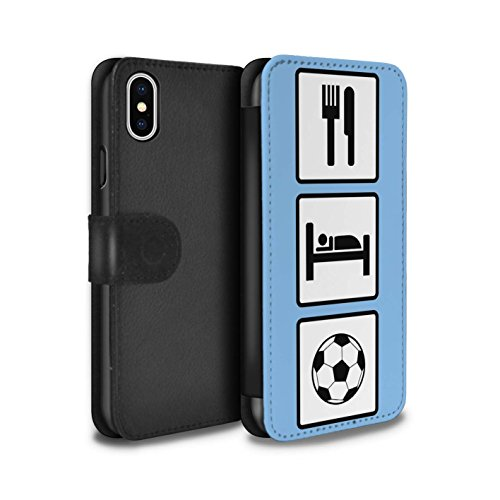Stuff4 Coque/Etui/Housse Cuir PU Case/Cover pour Apple iPhone X/10 / Pack 10pcs Design / Manger/Sommeil Collection Football/Bleu