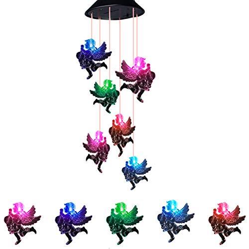 Solar Powered Wind Chimes,Suniness LED Solar Mobile Wind Glockenspiel, Color-Changing Wasserdichte LED Hängelampe Wind Glockenspiel für Outdoor Indoor Gartenarbeit Beleuchtung Dekoration Home (Engel)
