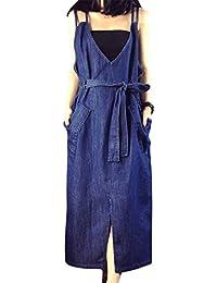 Hrph Printemps Casual Mode Femme V-Cou Robe Denim Vrac Lâche Dos Nu avec  Grand f9e50621e