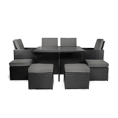 Vanage Gartenmöbel-Set, Polyrattan-Lounge-Möbel für Garten, schwarz/grau, 127 x 127 x 74 cm