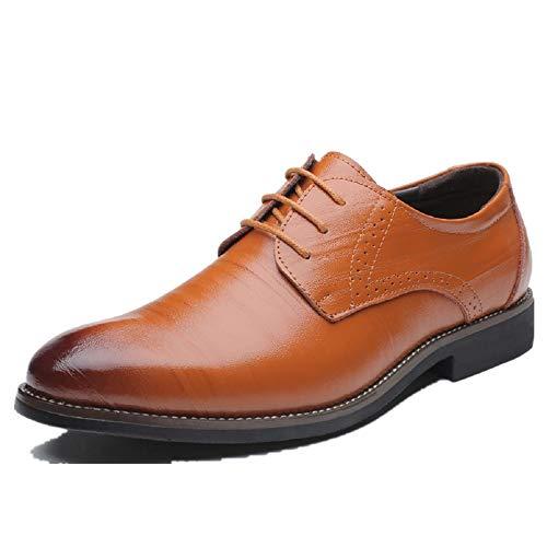 Business Anzugschuhe Herren, Lederschuhe Schnürhalbschuhe Oxford Smoking Lackleder Brogue Schuhe Hochzeit Derby Leder, 45 EU,  Khaki (Braune Leder Herren Schuhe)