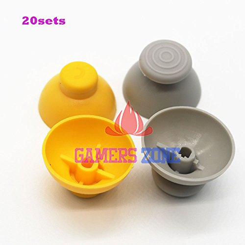 Veena Each 20PCS : 20sets Gray & Yellow Analog Thumbsticks Caps replacement For Nintendo Gamecube Controller