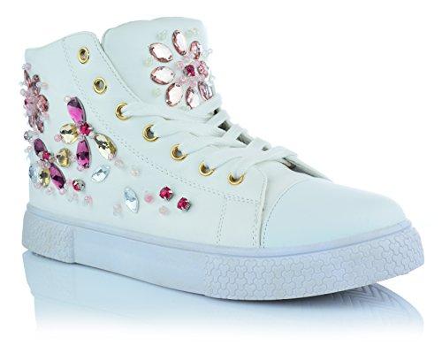 Damen Mädchen High-Top Sneaker Strass Glitzersteine Knöchelschuhe Gr. 36-41  EUR 37 15b8ba534e