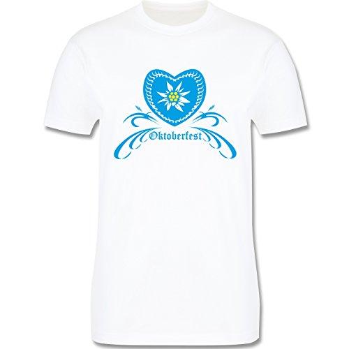 Oktoberfest Herren - Oktoberfest - Herz mit Edelweiss - Herren Premium T-Shirt Weiß