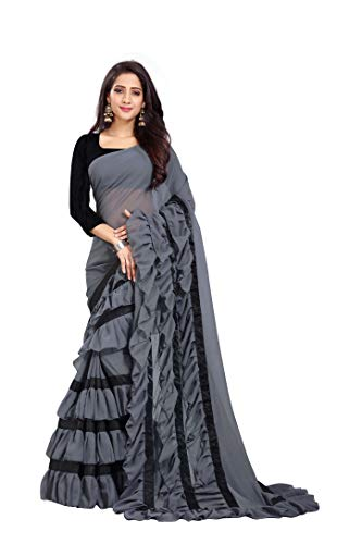 FFASHION Women's Georgette Grey Color Ruffle Saree With Blouse Piece | Ruffle Sarees for women (RUFFLE-GREY-3.0-NEW)