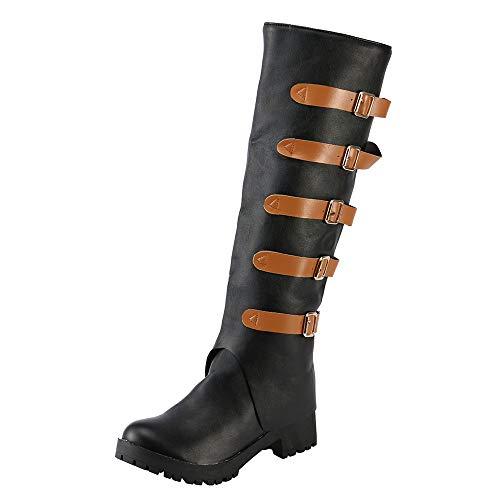 Frauen Stiefel Leder Vintage Knie Stiefel Starke Ferse Flache Ferse Schnee Stiefel,Schuh Damen Merlot,Heißer -