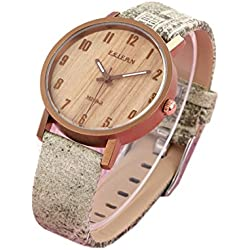 ufengke® jeans decoration wood material waterproof quartz wristwatch for women girls students-gray