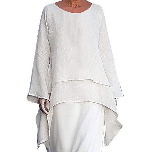 EERTX - ♛30 Tage bedingungslose Rückgabe♛/Damen Plus Size unregelmäßige Bluse/Baumwolle + Leinen/Rundhals Langarm/Frauen Sommer Wild Tops T-Shirt Tees(Weiß,XXXL) - Hose Schwarz Star City