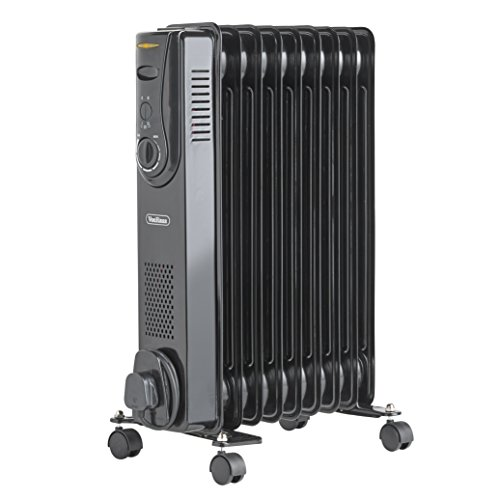 VonHaus Oil Filled Radiator 2KW 9 Fin – Portable Electric Heater – 3 Power Settings & Adjustable Temperature & Tip Over Safety Switch – Black 2000W