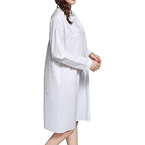 DoreKim para mujer blanco dulce de la ropa de noche de la vendimia del vestido del camisón de algodón pijama vestido DK3699 (S)