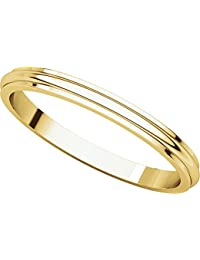 9ct Yellow Gold, Edged Half Round Wedding Band 2.5MM (sz H to Z5)