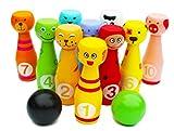 Toys of Wood Oxford Bowling Jeu de quilles - 12 quilles en Bois colorées - Jouet Montessori pour Apprendre Les Couleurs, Les Chiffres, Les Animaux. Jeu Exterieur Enfant. Cadeau Montessori.