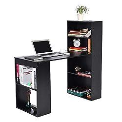 lyrlody Schreibtisch, schwarz/weiß Bürotisch PC-Tisch Computertisch Arbeitstisch Winkelkombination Workstations mit Aufbewahrung Ablage Büromöbel für zu Hause und im büro, Holz (schwarz)