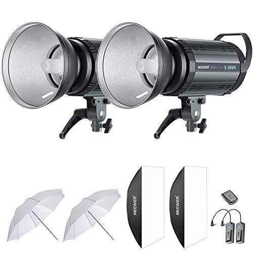 Neewer 600W Estudio Flash Estroboscópico Fotografía Iluminación Kit:(2) 300W Monoluz,(2) Reflector,(2) Difusor,(2) Paraguas,(1) RT-16 Disparador Inalámbrico para Montura Bowens(S-300N)