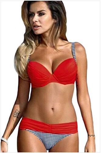Minetom Due Pezzi Estate Bikini Costume Costumi Bagno Donna Beachwear Swimsuit Push Up Reggiseno Imbottito Tinta Unita Rosso