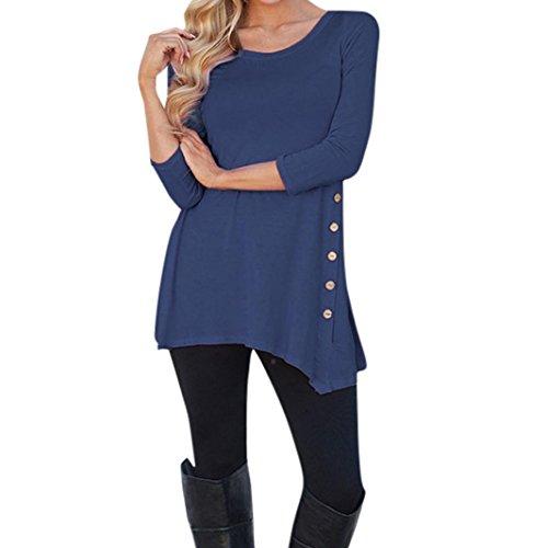 VEMOW Neueste Mode Heißer Verkauf Sommer Herbst Frauen Mädchen Casual Langarm Lose Taste Trim Bluse Einfarbig Rundhals Tunika T-Shirt (L, Dunkelblau)