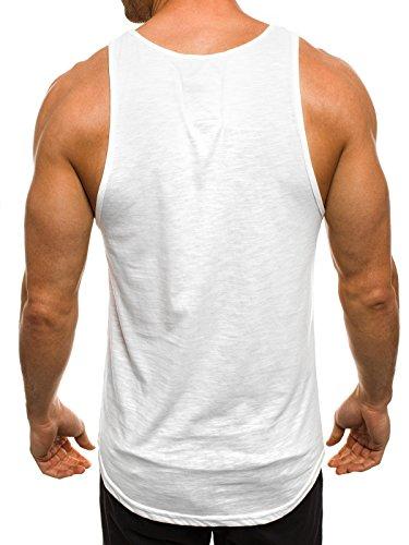 OZONEE Herren Tanktop Tank Top Tankshirt T-Shirt mit Print Unterhemden Ärmellos Weste Muskelshirt Fitness BREEZY 726 Weiß