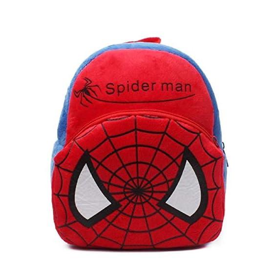 FASNO School Bag for Kids/Girls/Boys/Children Plush Soft Bag Backpack Spiderman Cartoon Bag Gift for Kids Cartoon Toy Cute Birthday Return Gift/School Bag (Red Blue_3 to 5 Year)