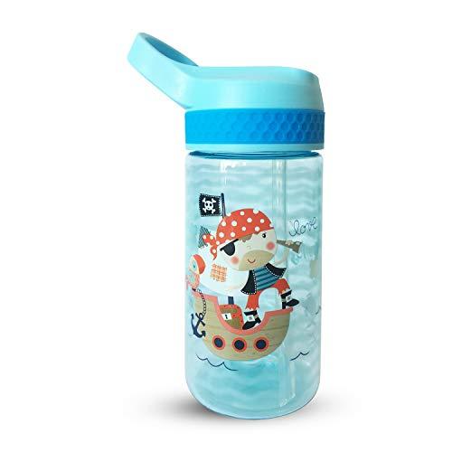 AMTBABY Botella de Tritan reutilizable con sistema antigoteo de 450ml. Facil Apertura. Sin BPA para uso diario y aprendizaje de Bebes y Niños.