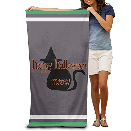 Monicago Frottiertücher Strandtücher, Quick Dry Towel Microfibre Towel, Halloween Meow Adults Cotton Beach Towel 31