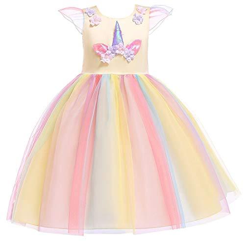 Gaga city Kinder Einhorn Kostüm Mädchen Blume Kleid Cosplay Hochzeit Geburtstagsfeier Party Kostüm Prinzessin ()