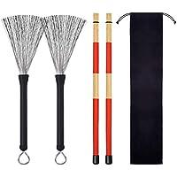 Purebesi Cepillo de Tambor retráctil de Alambre,19 Unids Bambú Stick Drum Instrumentos de percusión Accesorios Drum Brushes Set Hot Rods Drum Wire Brushes Sticks Drawstring Storage Bag Drum Set