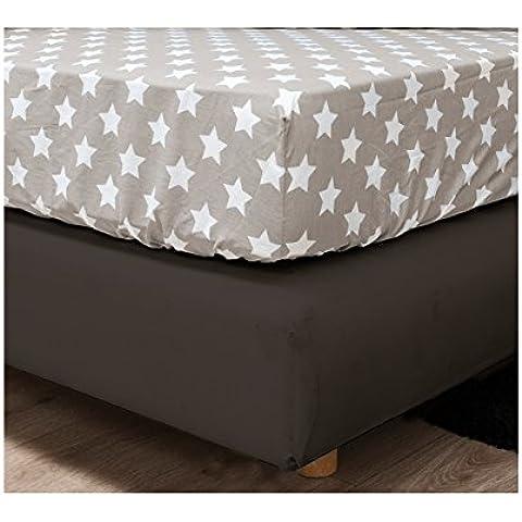 HnL face2face Ropa de cama de franela–Stars Beige, 100% algodón, beige, 90 x 200 cm