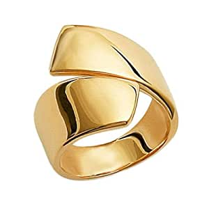 So Chic Jewels - Ladies 18K Gold Plated Modern Cross Over Wishbone Style Ring