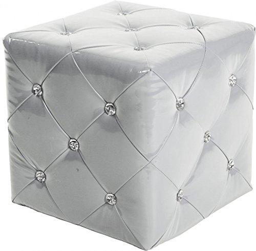 BHP Design MDF Hocker Kunst Leder Strass Steinen Kristalle Sitz Mobiliar Weiss Lounge Sessel -