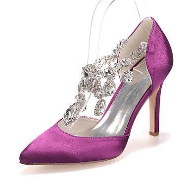 Wuyulunbi@ Scarpe donna raso Primavera Estate della pompa base scarpe matrimonio Punta strass per la festa di nozze & Serale Champagne Avorio Fuchsia US5.5 / EU36 / UK3.5 / CN35