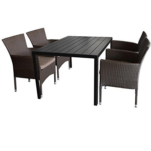 5tlg. Gartengarnitur Aluminium Gartentisch 150x90cm mit Polywood Tischplatte Schwarz stapelbare Polyrattan Gartensessel braun-meliert inkl. Sitzkissen