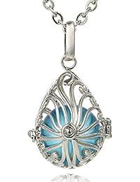 Morella® Damen Halskette Edelstahl 70 cm mit Tropfen Anhänger und Klangkugel Ø 16 mm in Schmuckbeutel zur Farbauswahl