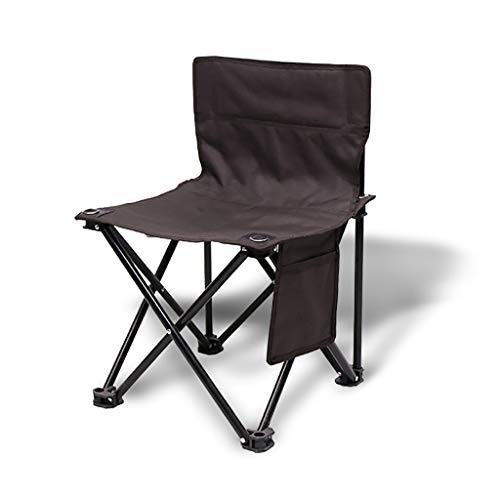 MLX Klappstuhl, Gartenstuhl, tragbar, zusammenklappbar, mit Seitentasche zum Angeln, Camping, Freizeit, Grill, Strandstuhl, Braun 39 × 39 × 58cm