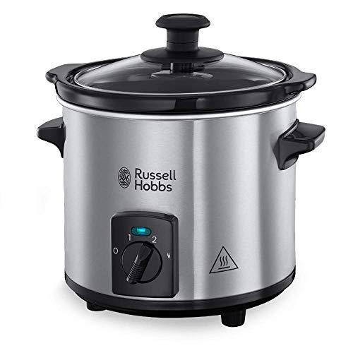Russell Hobbs Compact Home 25570-56 Olla de cocción Lenta de Baja Temperatura, 145 W, 2 litros, Acero Inoxidable, Plateado