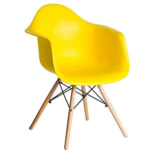 Silla Eames amarilla de oficina