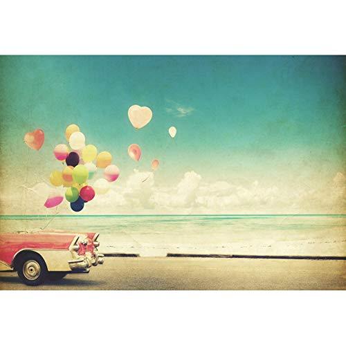yl Geburtstag Fotohintergrund Bunte Luftballons Tropischer Strand Meer Hochzeits Flitterwochen Fotoleinwand Hintergrund für Fotostudio Requisiten Party Baby Kinder Photo Booth ()
