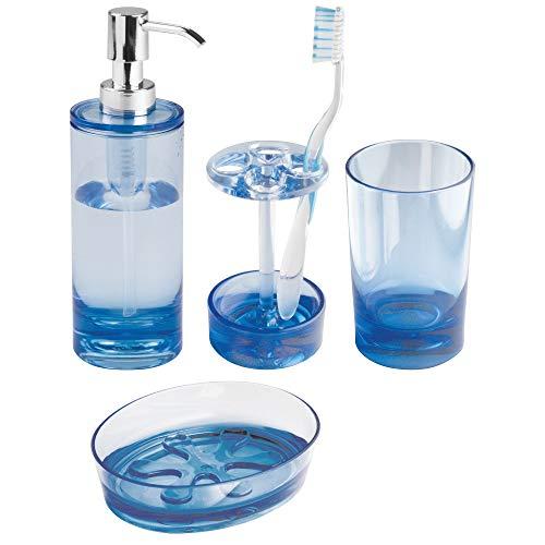 mDesign 4er-Set Badaccessoires - inklusive Seifenspender, Seifenschale, Zahnputzbecher und Zahnbürstenhalter aus Acryl - Badgarnitur für den Waschtisch - blau