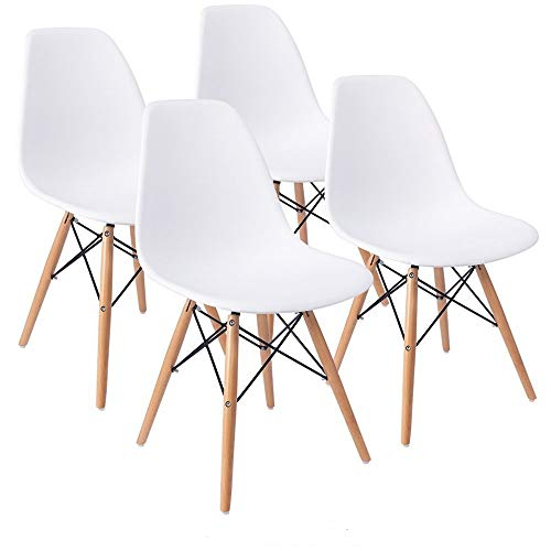 COMFORTA BLE Plus Set of 4 Dining Room Chairs Eiffel DSW Dining Bedroom Kitchen White Retro Plastic Seat and Wooden Legs -
