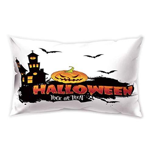 en White Rectangle Cushion Cover Pumpkin Castle Trick Treat Printing Double-Sided Soft Plush Pillowcase 30 x 20 inhces ()