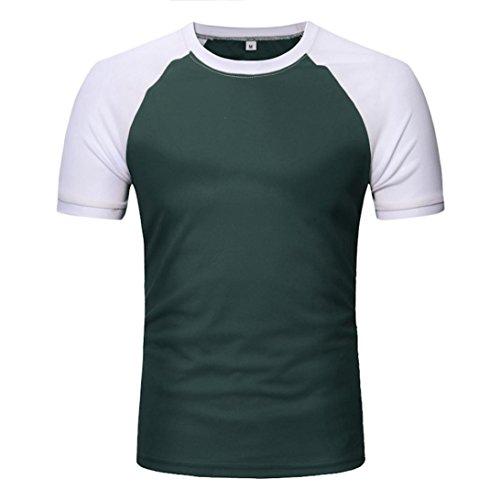 MOIKA Herren T Shirt New Männer Casual Patchwork O Hals Pullover Kurze T-Shirt Top Bluse(L2,Grün)