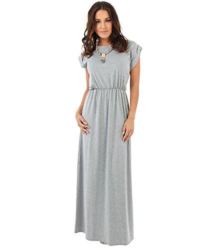 3269-GRY-18: Bodenlanges Einfarbiges Leichtes Kleid (Grau, Gr.46)